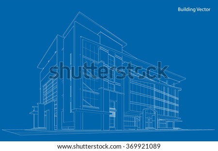 abstract 3d wireframe of building my sketch design abstract 3d office building