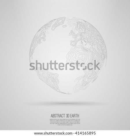Abstract 3d world map consist dots  Vector earth globe  Decorative continents  Global network connection of planet  Dotwork - stock vector