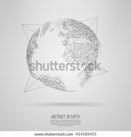 Abstract 3d world map consist of chaotic random triangles Vector earth globe  Decorative continents  Global network connection of planet  Line art - stock vector