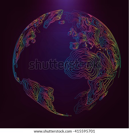 Abstract 3d world map consist of colored wavy lines Vector earth globe Decorative continents Global network connection of planet Lineart - stock vector