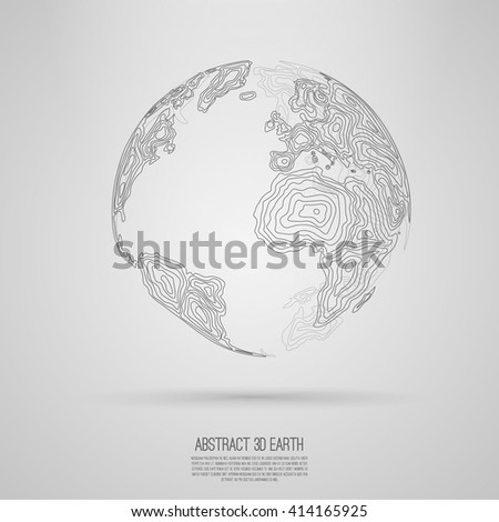 Abstract 3d world map consist of wavy lines  Vector earth globe  Decorative continents  Global network connection of planet Lineart  - stock vector