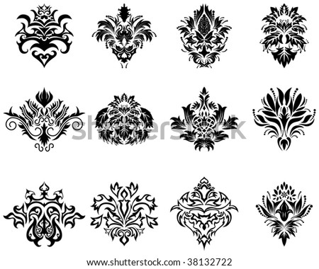 Abstract damask emblem set for design use