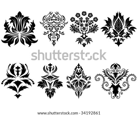 Abstract damask emblem set for design use. Vector Illustration.
