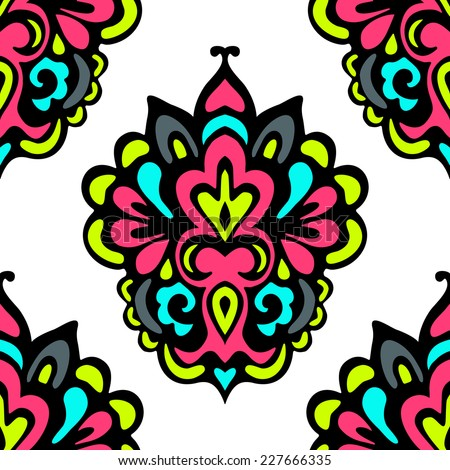 abstract  damask seamless floral festive vector tiled design - stock vector