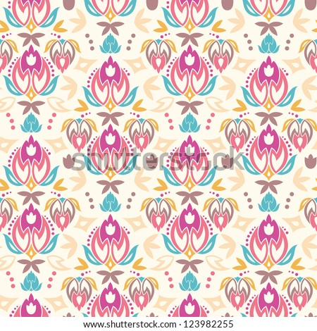 Abstract damask tulips seamless pattern background - stock vector