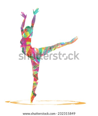 abstract dancer silhouette - stock vector