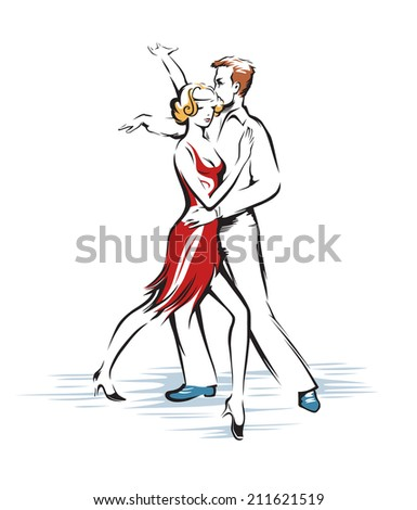 Abstract dancing couple - stock vector