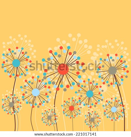 Abstract Dandelion Flowers. Vector Background - stock vector