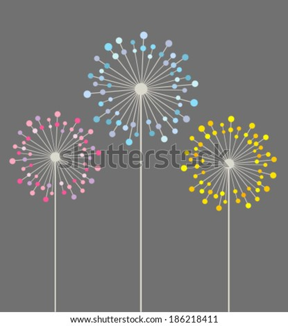 Abstract dandelion flowers. Vector illustration - stock vector