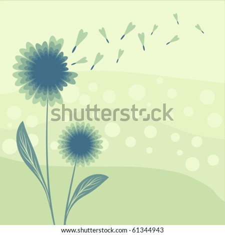 abstract dandelion scene, vector illustration - stock vector