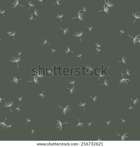 Abstract dandelions on marsh color background, vector seamless pattern  - stock vector