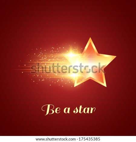 Abstract dark background with glowing golden star - stock vector