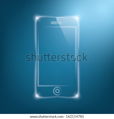 abstract dark background with transparent smartphone. vector illustration. eps10 - stock vector