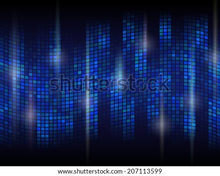 Abstract dark background with undulating mosaic. Tessellated wave with flare effects. Qualitative vector backdrop in blue colors.