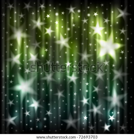 Abstract dark blue and green background with stars - stock vector