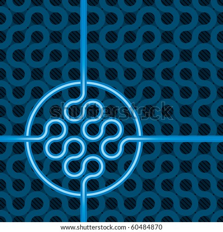 abstract dark blue background with copyspace and seamless pattern - stock vector