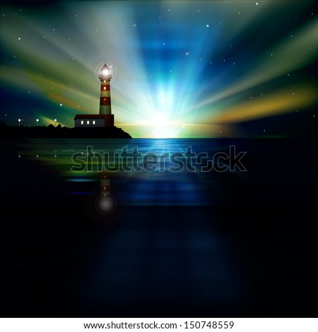 abstract dark blue background with sunrise and lighthouse