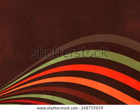 Abstract dark brown retro background with wavy lines - stock vector