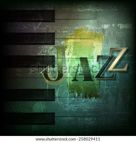abstract dark green grunge background with word Jazz - stock vector