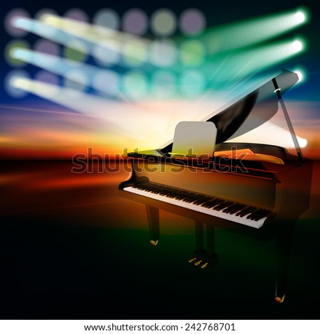 abstract dark jazz background with grand piano on music stage - stock vector