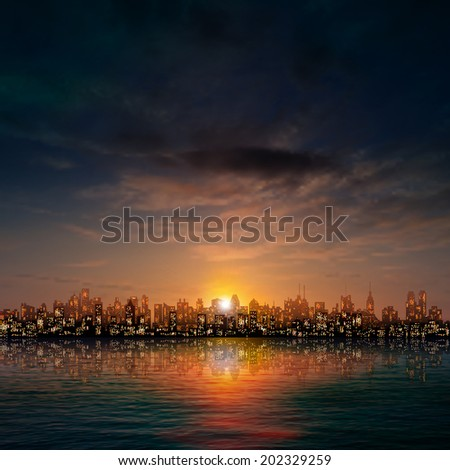abstract dark nature background with panorama of city clouds and sunset