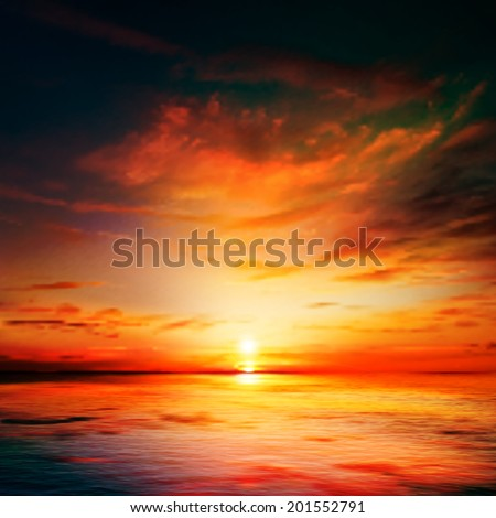 abstract dark nature background with sea red sunset and clouds - stock vector