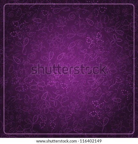 Abstract Dark Purple Card with Doodle Background. Vector Design Illustration - stock vector