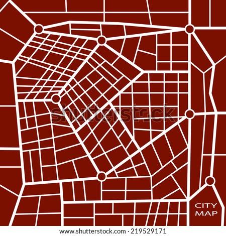 Abstract dark red road map in vector - stock vector