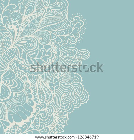 Abstract decoration, invitation card with ornate detailed ornament. Template frame design for card in cold winter theme. Useful for packaging, invitations, decoration, bag template, etc - stock vector
