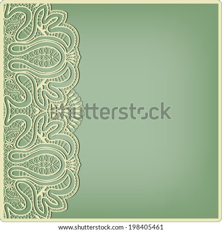 Abstract decoration, lace frame border pattern, invitation card design, floral and geometric ornament, yellow on green background - stock vector