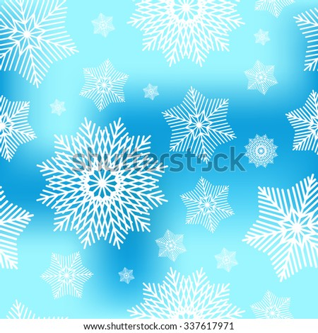 Abstract decorative  blue and white christmas seamless pattern with snowflakes. Winter snowflakes background for Your design. Holiday Design for New Year Greeting Cards, Posters and Flayers.  - stock vector