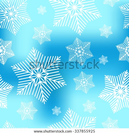 Abstract decorative  blue and white christmas seamless pattern with snowflakes. Winter snowflakes background for Your design. Holiday Design for New Year Greeting Cards, Posters and Flyers.  - stock vector