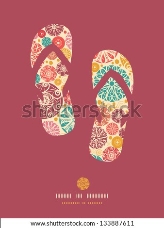 Abstract decorative circles flip flops pattern background - stock vector