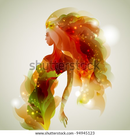 abstract  decorative composition with girl - stock vector