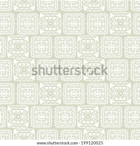 Abstract decorative ethnic light seamless pattern. Aztec ornament. Tribal art. Lace. Geometric background. Circles. Squares. Triangles. Flowers. Repeating texture. Wallpaper - vector  - stock vector