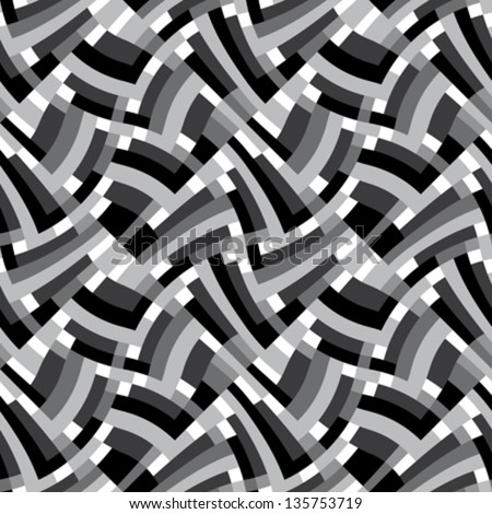 Abstract decorative geometric scales textured ornament. Seamless pattern. Vector. - stock vector