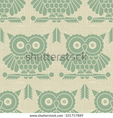 Abstract decorative owls printed on vintage textured background. Seamless pattern. Vector. - stock vector