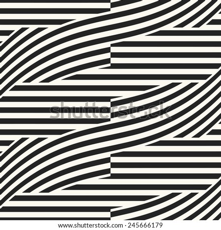 Abstract decorative straight and curved strip background. Seamless pattern. Vector. - stock vector