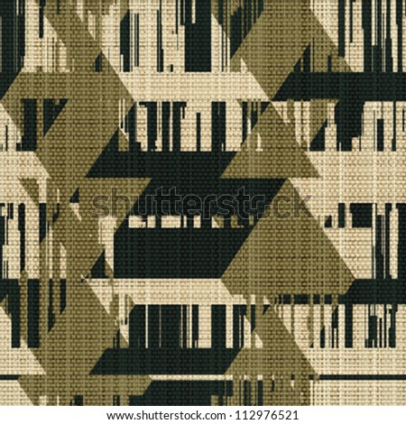 Abstract decorative urban geometric shapes printed on textured linen fabric background. Seamless pattern. Vector.