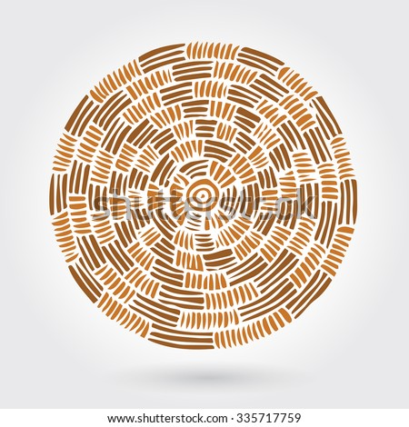 Abstract decorative wooden round striped textured weaving. Vector doodle target - stock vector