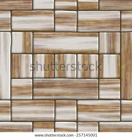 Abstract decorative wooden textured parquet floor background. Seamless tiling. Vector. - stock vector