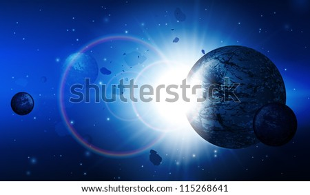 Abstract Deep Space Science Background: Planets, Stars, Lights, Sun, Sunrise, Satellite, Alien Vector EPS10