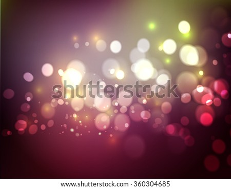 Abstract defocused christmas background. Festive elegant abstract background with pink bokeh  lights  - stock vector