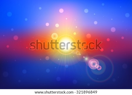 Abstract Defocused Sunset Background - stock vector