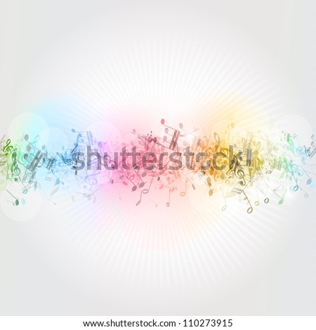 Abstract design background with colourful music notes - stock vector