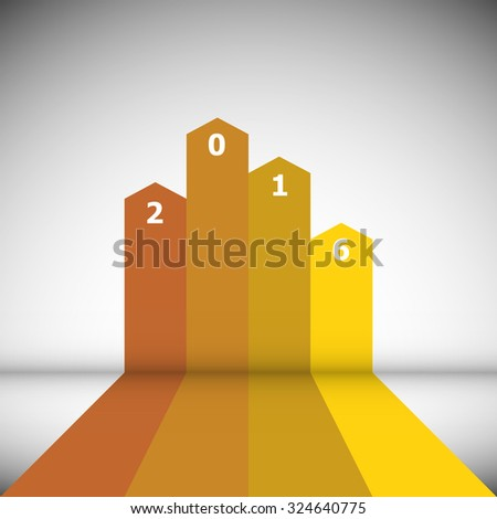 Abstract design banner with 2016, stock vector - stock vector