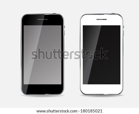 Abstract Design Black and White Mobile Phones. Vector Illustration - stock vector