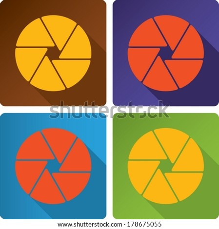 abstract design closed shutter apertures painted in modern color. - stock vector