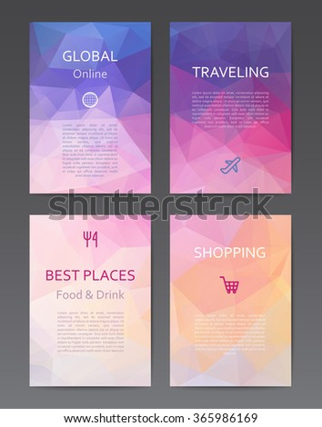 Abstract design colourful brochure and annual report templates with polygonal background - stock vector