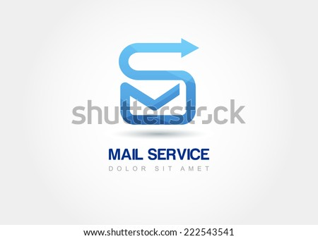 Abstract design concept for mail service. Vector logo template. Sending message icon.  - stock vector